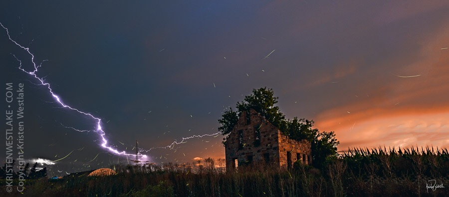 lightning panorama with fireflies and abandoned stone house