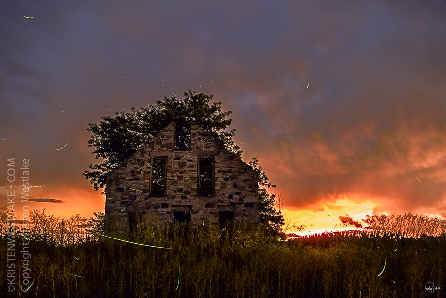 fireflies and sunset at abandoned house