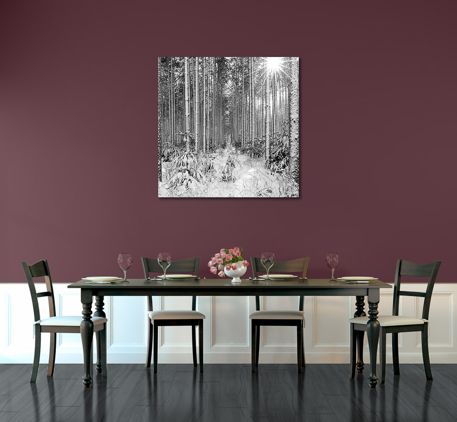 Sunburst 50 x 50 inch canvas gallery wrapped print in for Dining room artwork prints