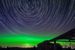 Northern Lights with Polaris Star Trails on St. Patricks Day
