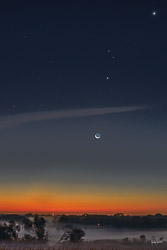 Twilight and rising crescent moon