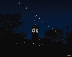 the crescent moon decent over the Allen Bradley Clock in Milwaukee in 5 minute intervals (as seen on the clock)