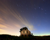 Night Photography with Star trails and abandoned house